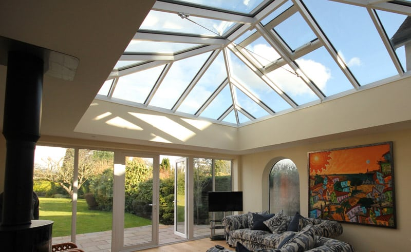 Glazed roofs in a conservatory