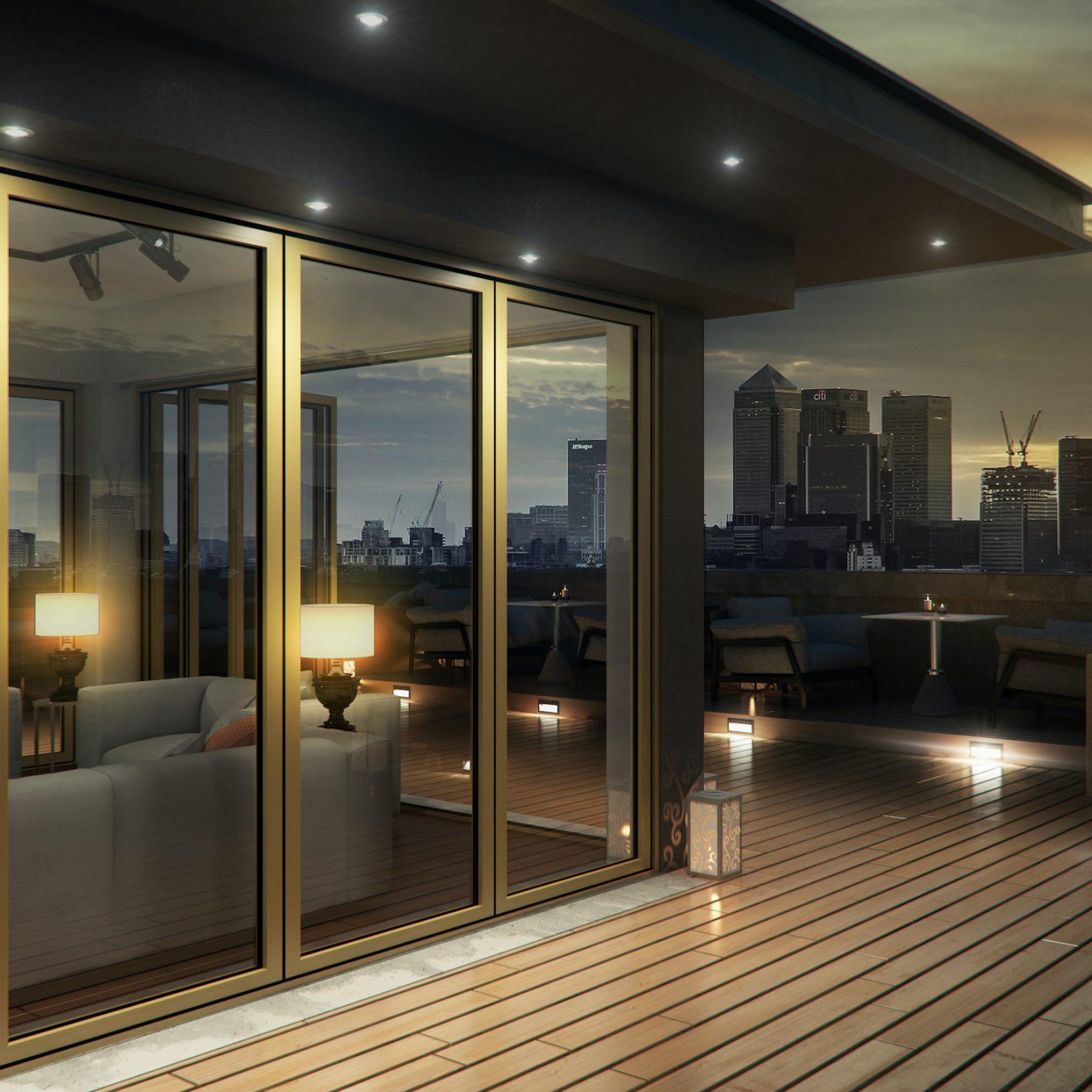 aïr 800 bifolding doors in a penthouse flat