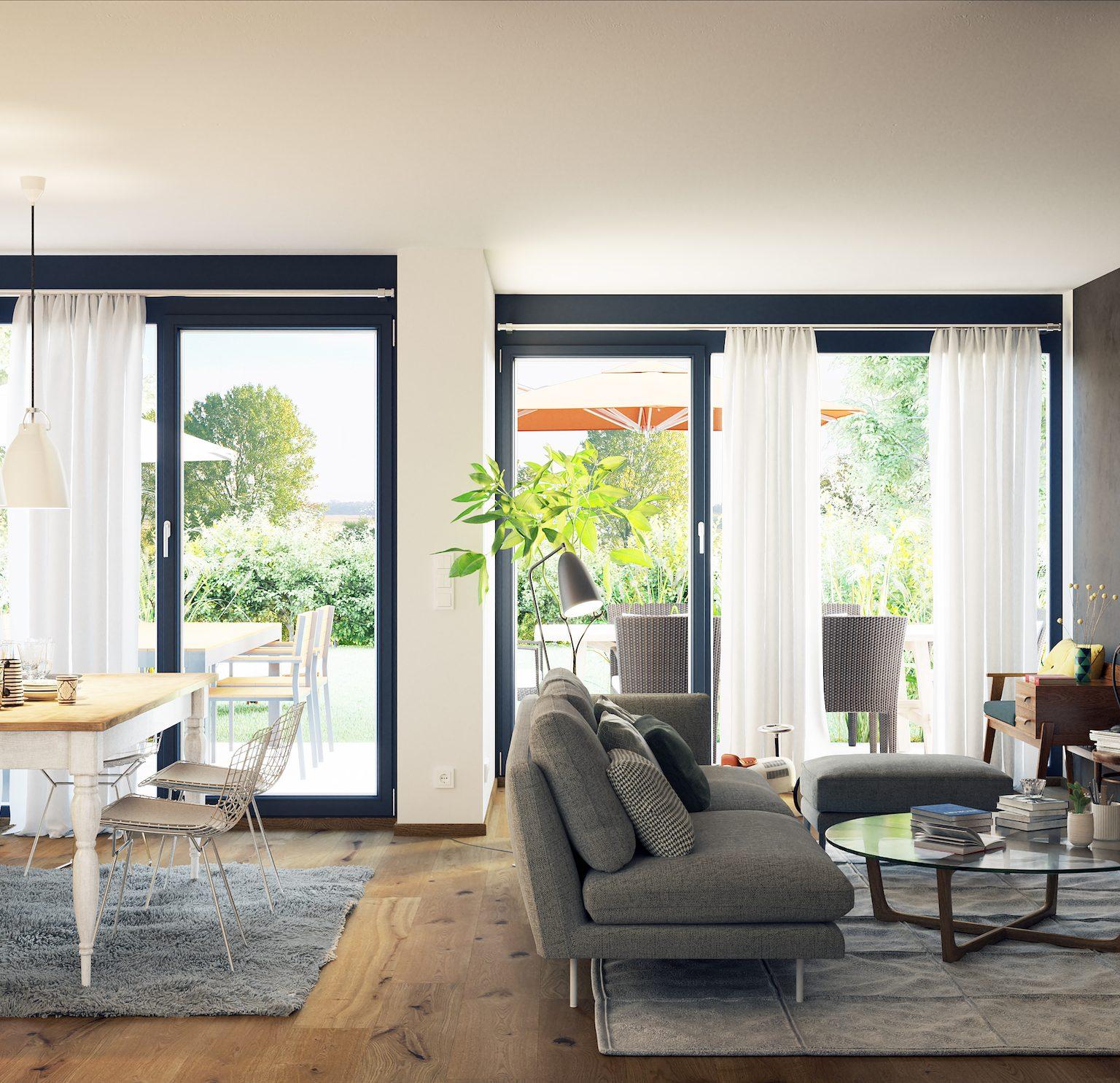 black living room doors