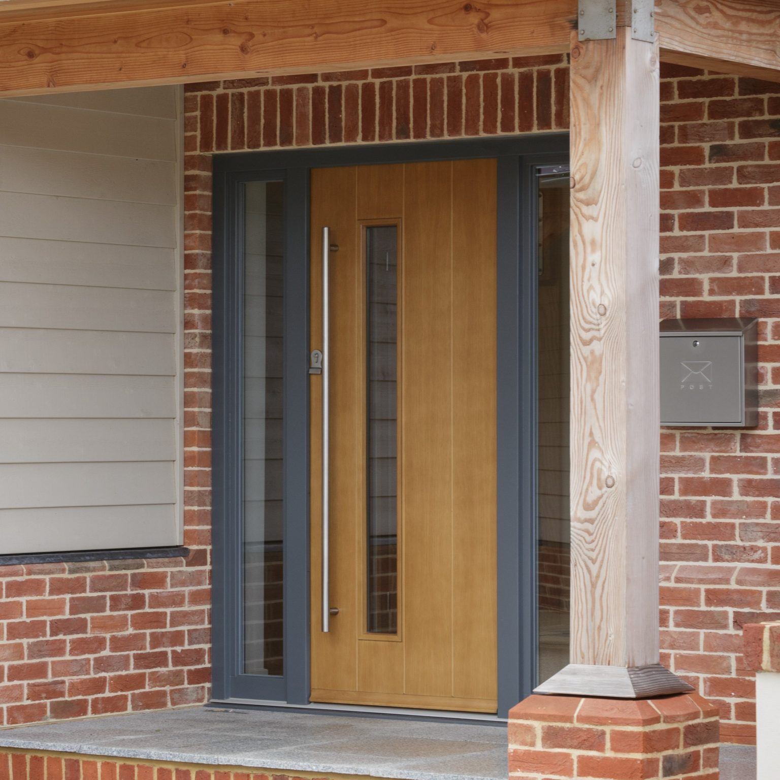 timber front doors in a modern style