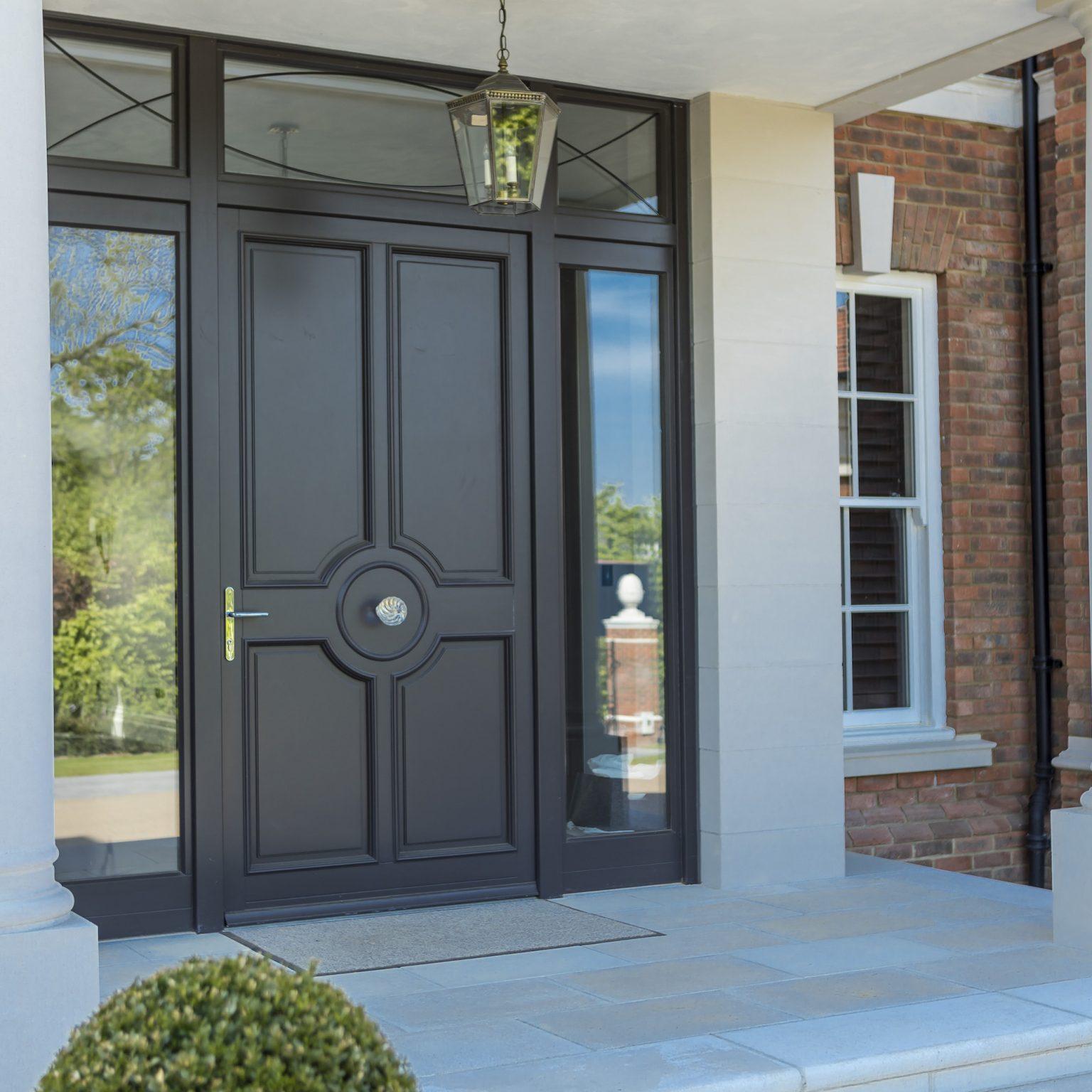 timber front door in black
