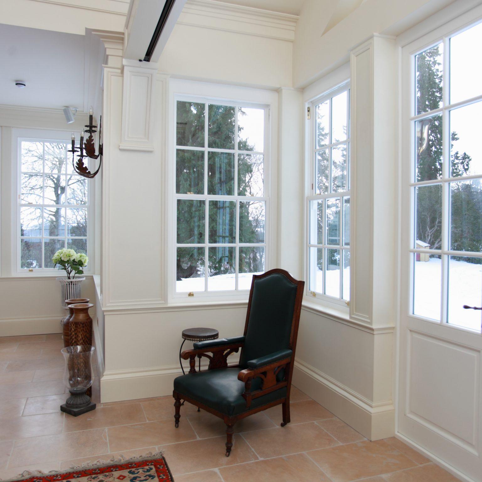 sliding sash windows in white wood