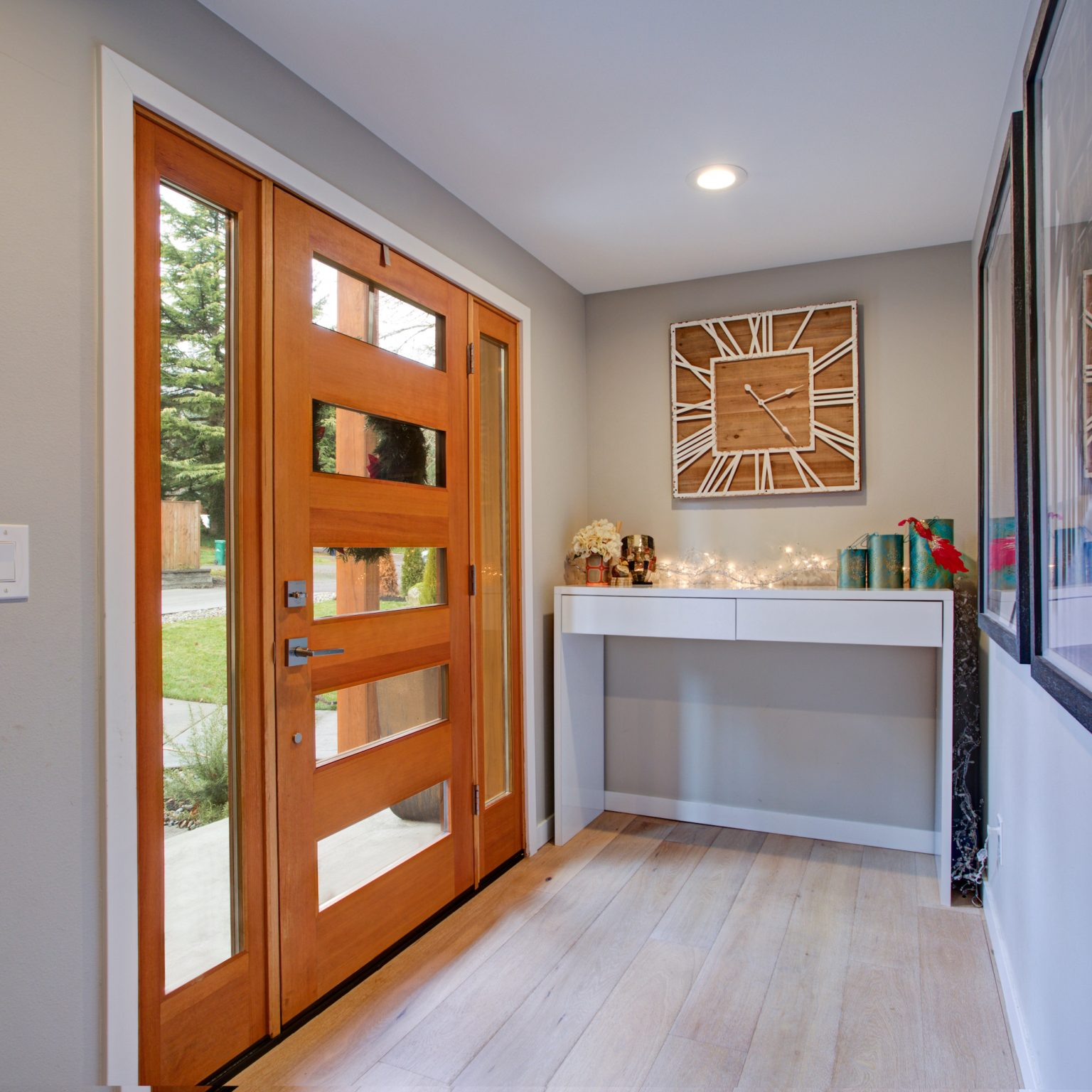 inside view of timber front doors