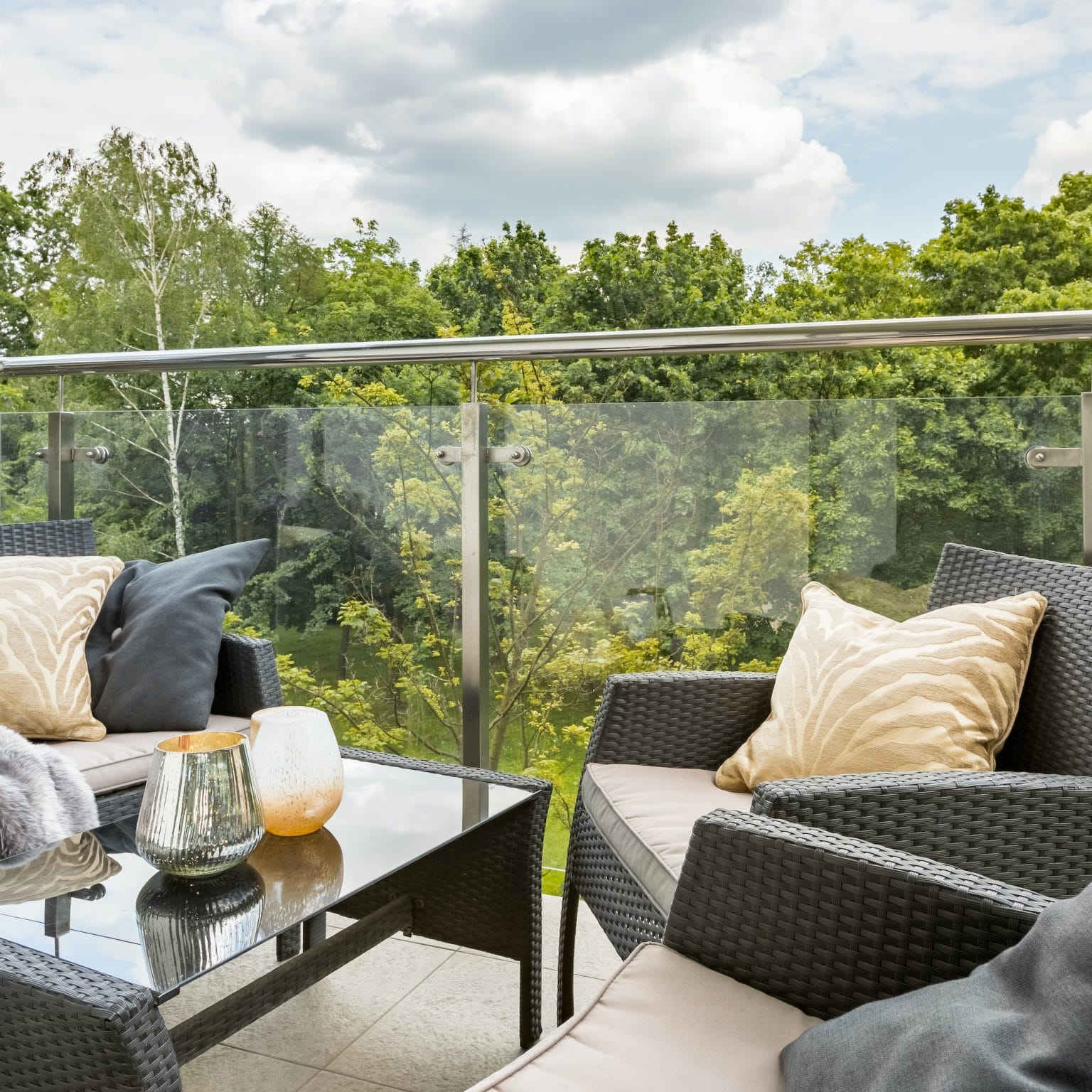 balcony with glass balustrades