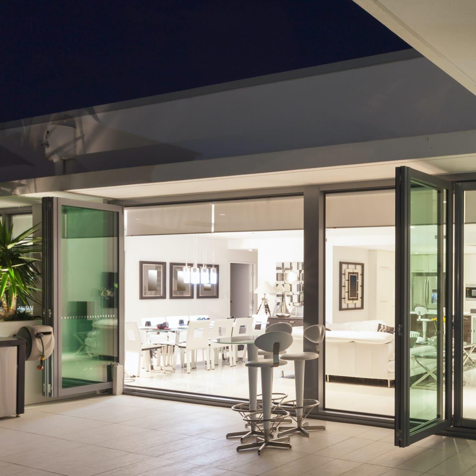 schuco ass70 bifolding doors in a penthouse