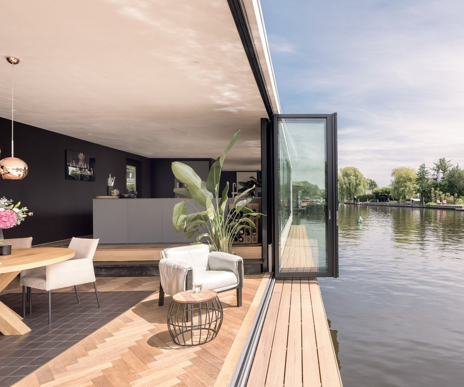 bifolding doors by a lake