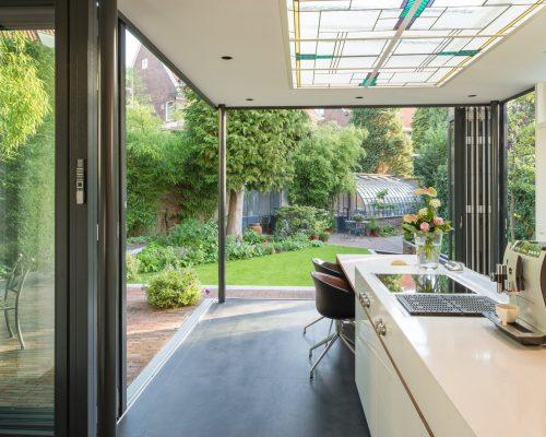 low or flush threshold on bifolding or sliding doors showing German bifold doors