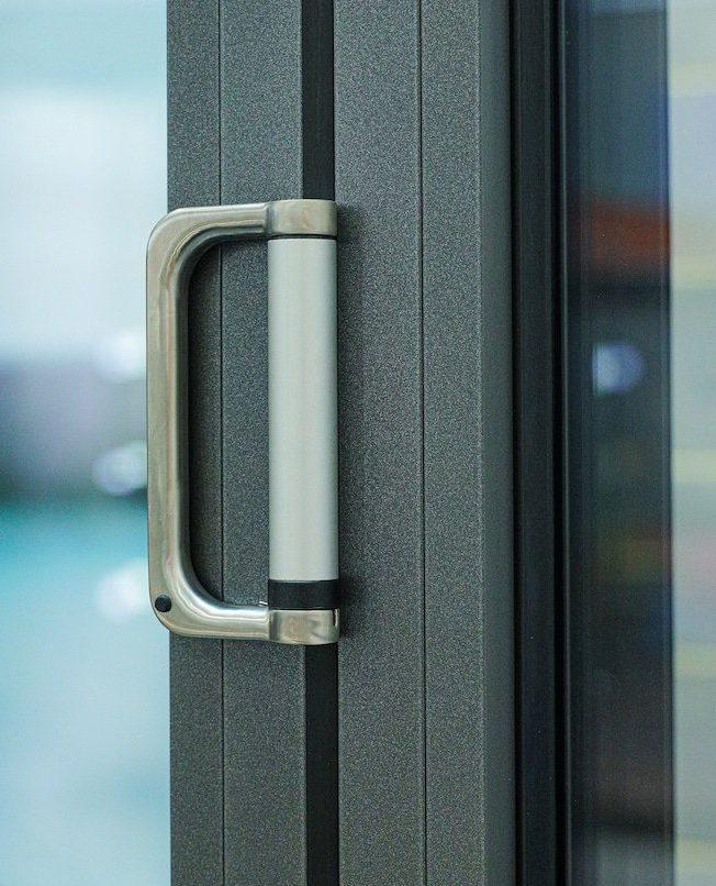 close up of solarlux Bifolding doors handle