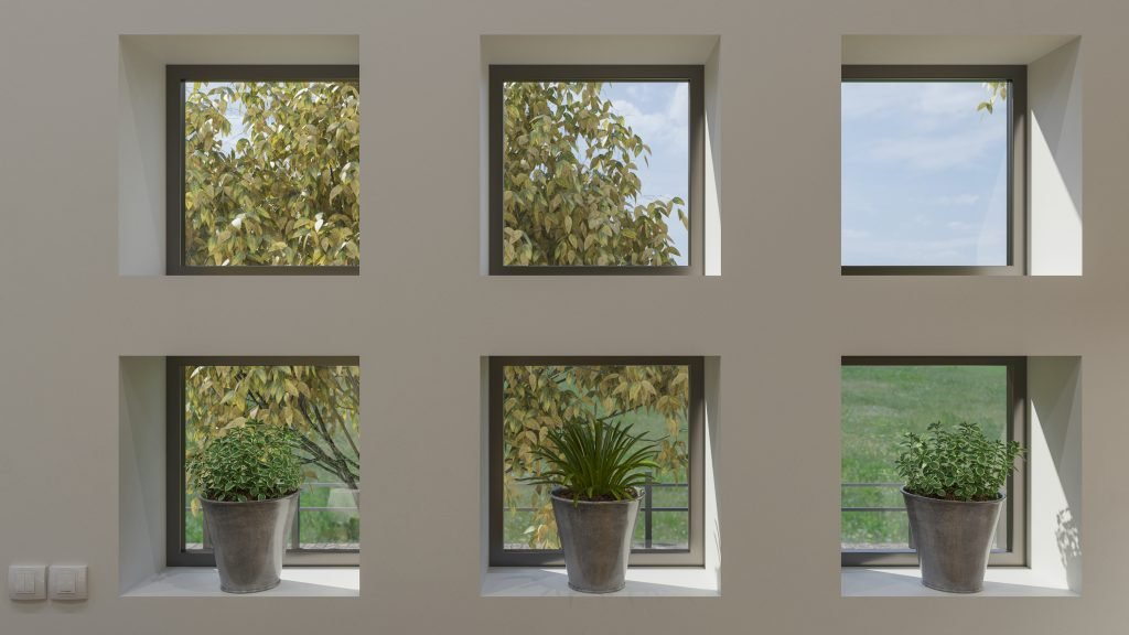 square air windows and doors in a new house