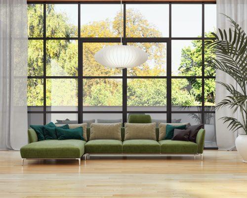 aluminium steel look screen in a lounge