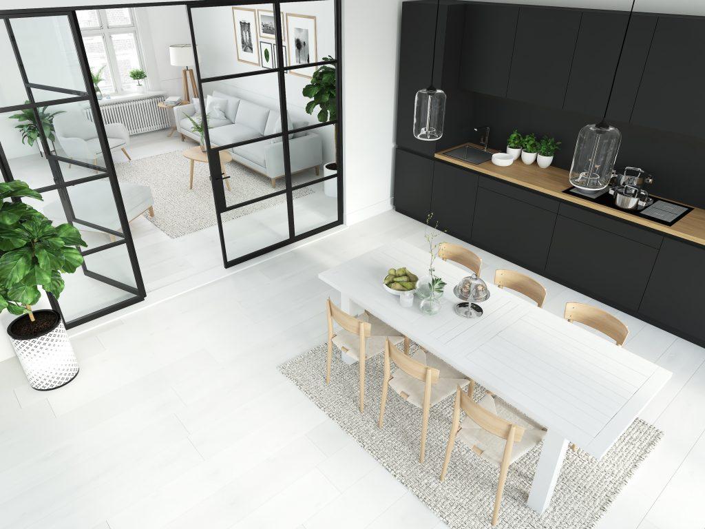 steel look aluminium doors in a modern kitchen
