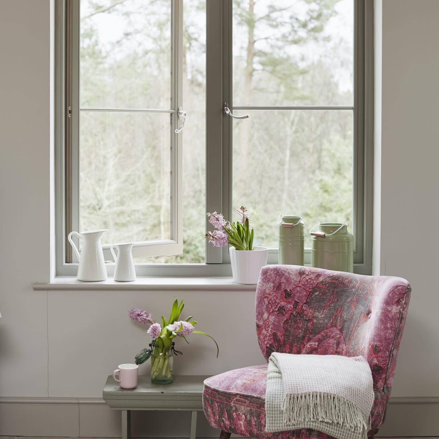 grey open timber casement windows