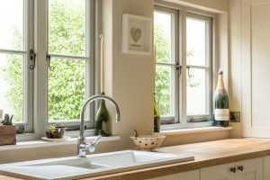 timber casement windows in a country kitchen