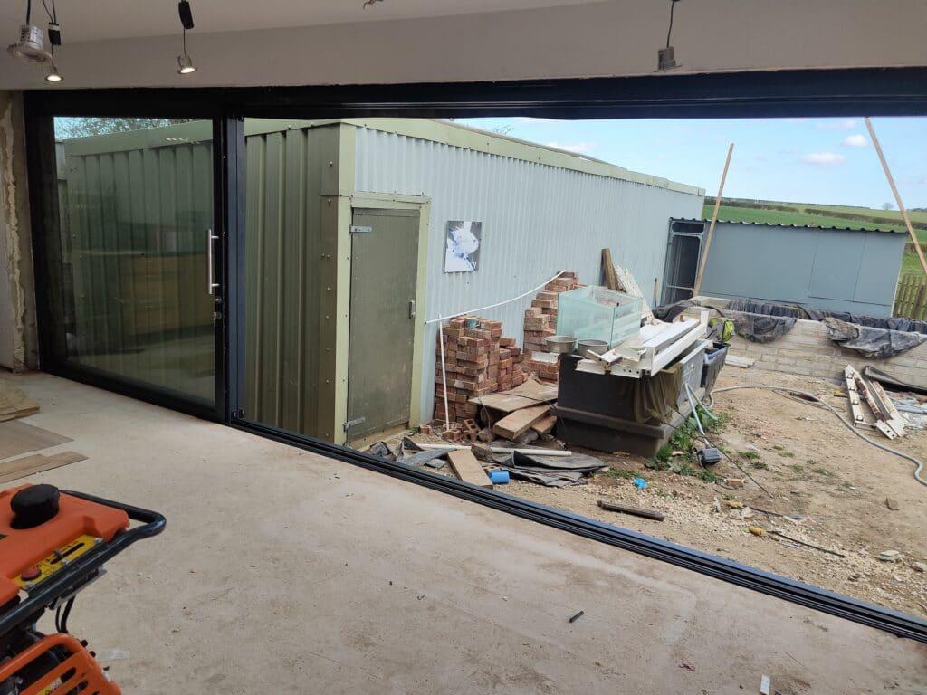 Slimline sliding doors in Lincolnshire fully open