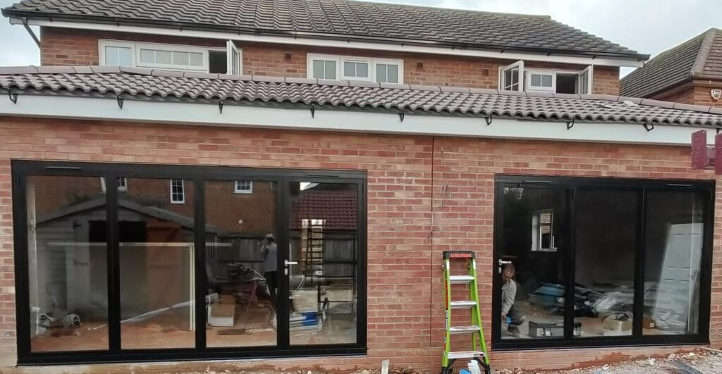 two bifold doors in East Leake new build extension