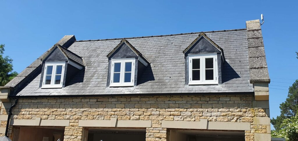 white timber look windows in a new build coach house