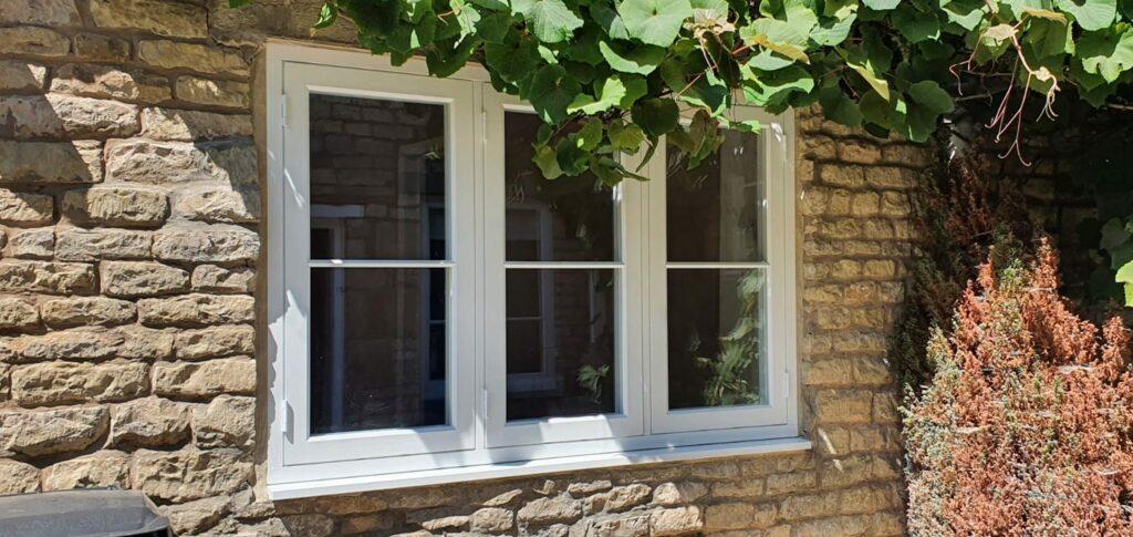 new double glazed window in a wood-effect style
