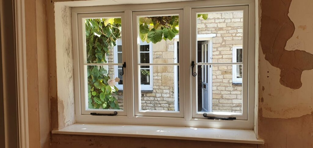 white timber look windows in a new build home