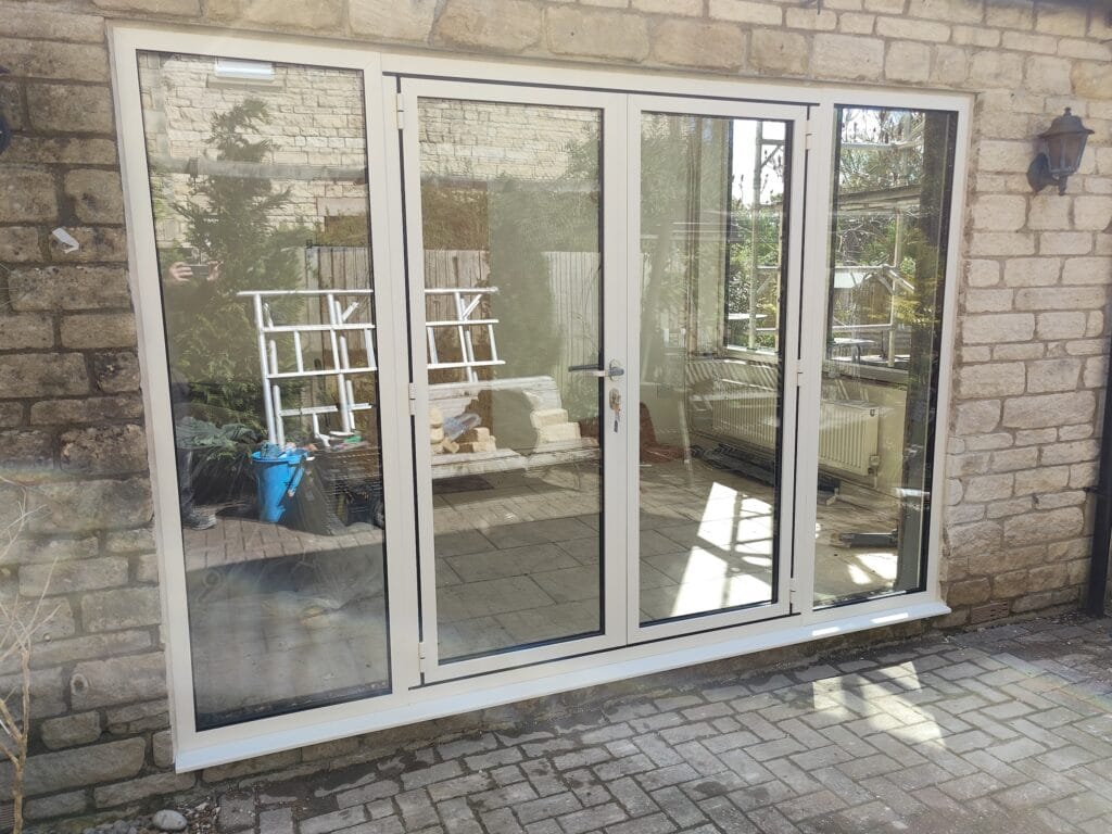 white aluminium French doors in Kings Cliffe Northamptonshire home