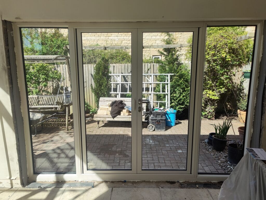 white aluminium French doors in Kings Cliffe house extension
