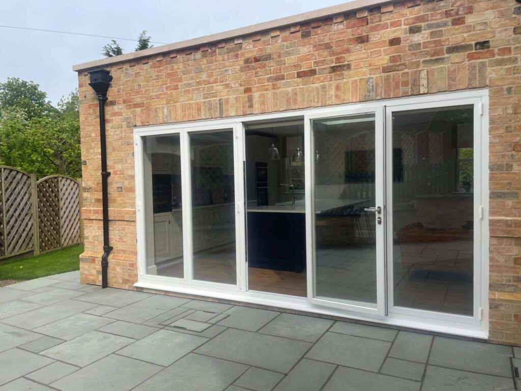 bifolding doors showing the master leaf fully open