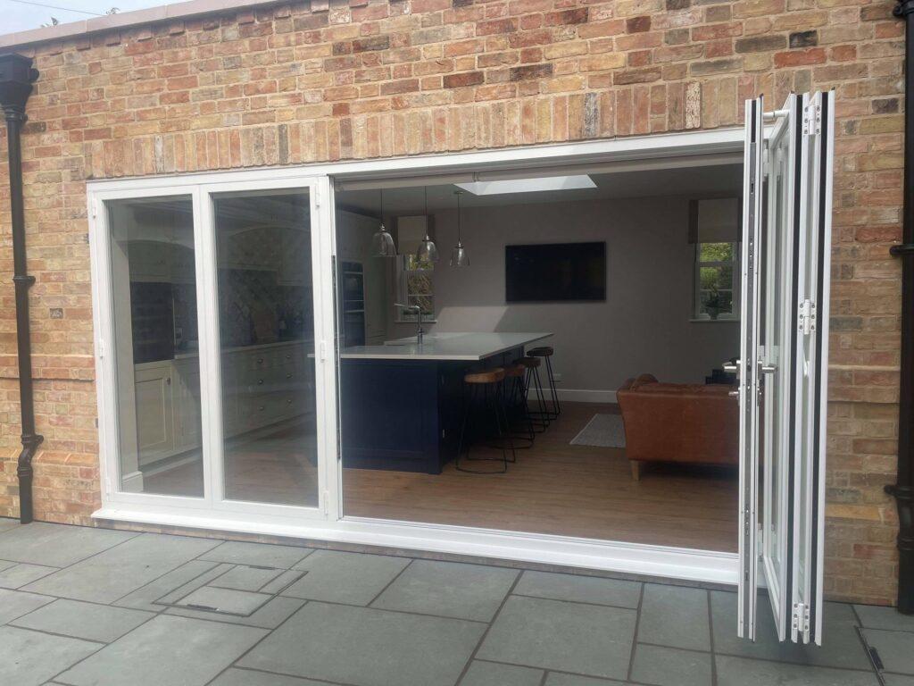 bifolding doors in Huntingdon in white colour